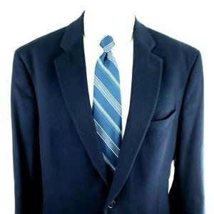 Jos A Bank 44R 2 Button Blue Cashmere Wool Blazer
